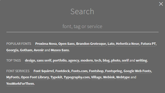 Search box in Typ.io website.