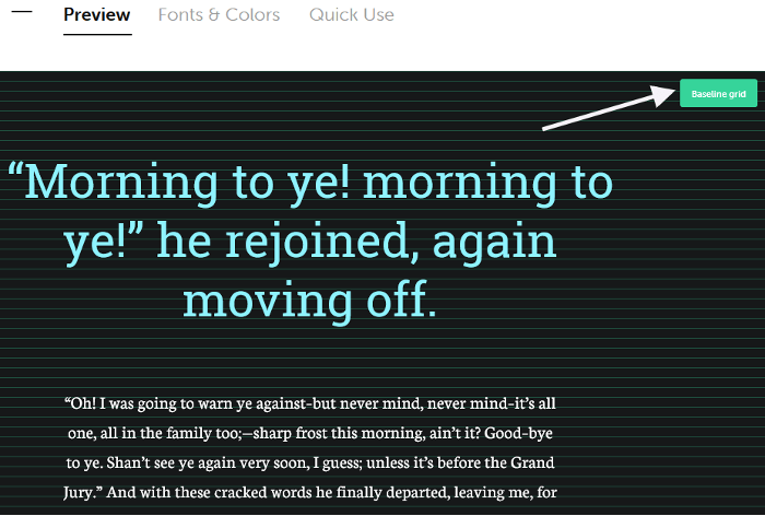 Preview screen on the Typespiration website.