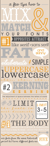 Infographic on mixing and matching fonts by Fontaholic