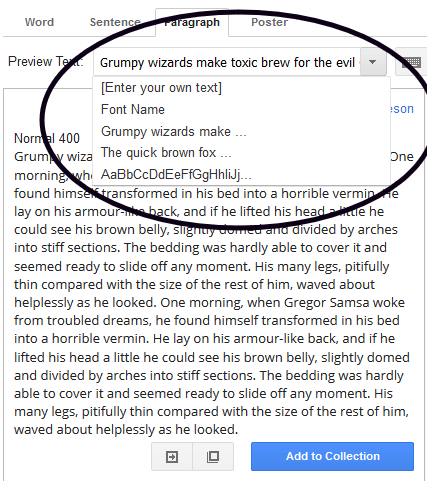 Changing text to display in Google Fonts website