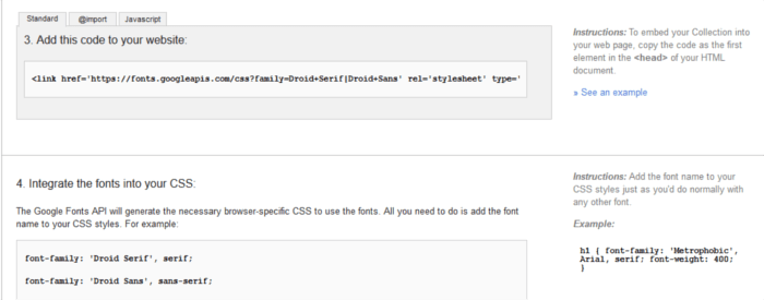 Google Fonts providing relevant code for inclusion of fonts in a website