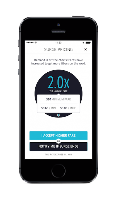 Surge pricing announcement