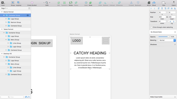 Adapting the layout to fit tablet screens