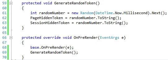 GenerateRandomToken and OnPreRender