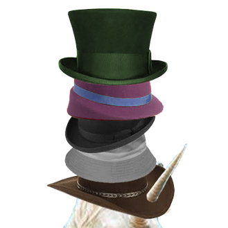 A piled stack of hats