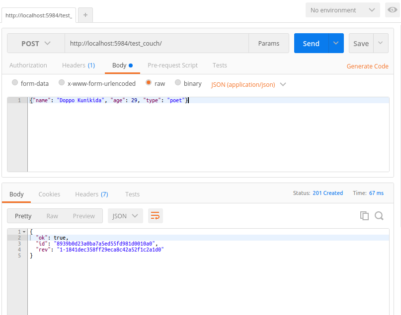 Creating a new document with Postman