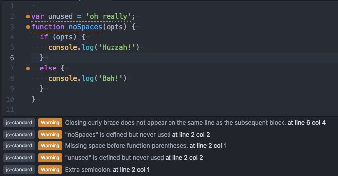 Screen shot of the plugin highlighting errors in Atom