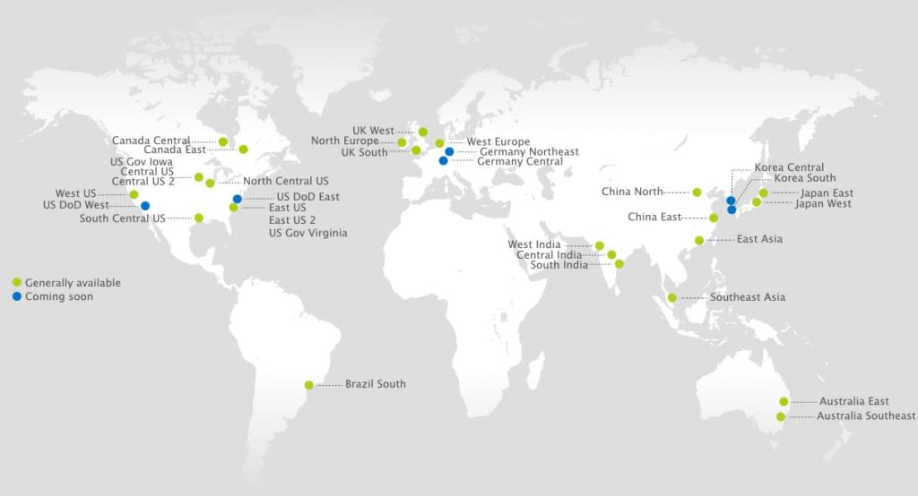 Azure server locations