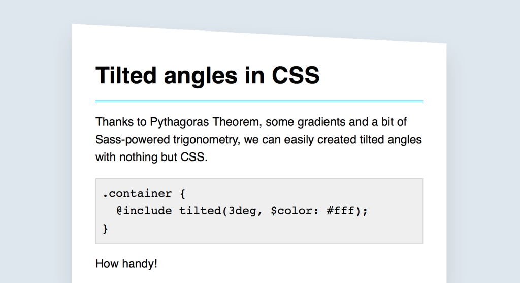 Illustration of a tilted angle in CSS