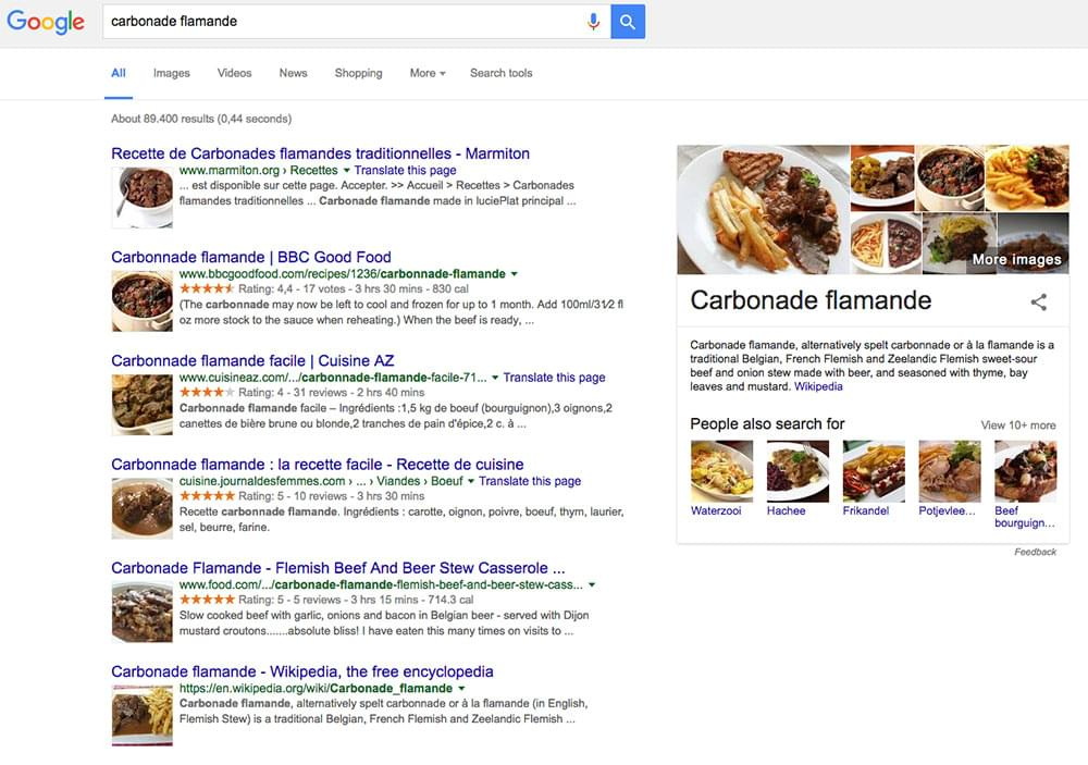 Recipe rich search results