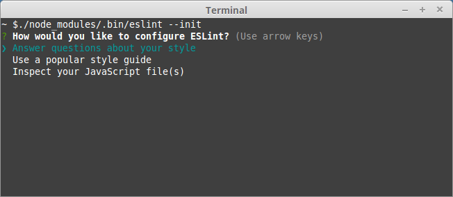 How would you like to configure ESLint?