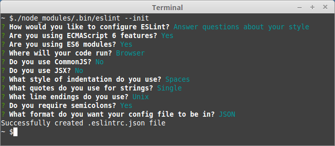 Successfully created .eslintrc.json file