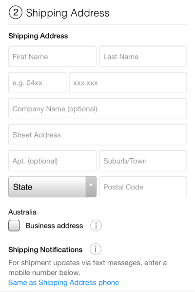 Figure 1 - Apple shipping address form