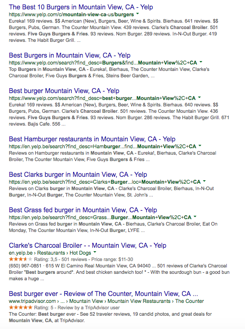 Best burger Mountain View CA SERP