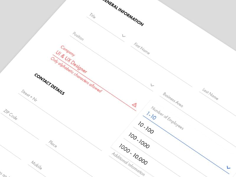 Contact form with feedback