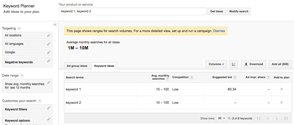 AdWords Keyword Planner with throttled data