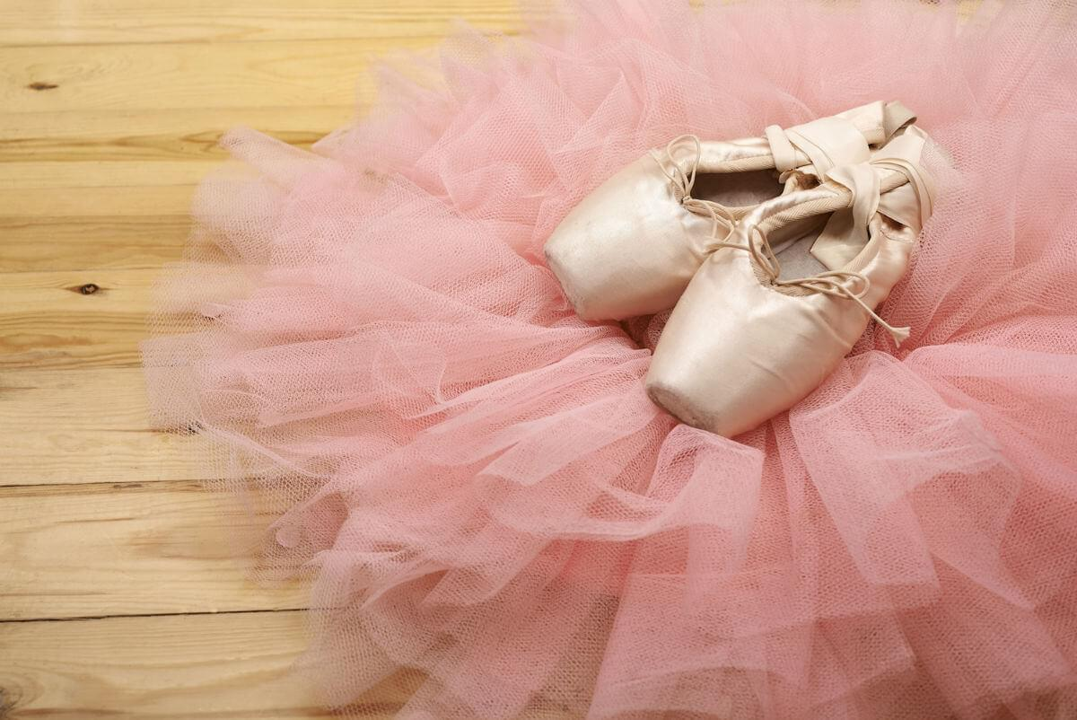 Ballet shoes on right of image