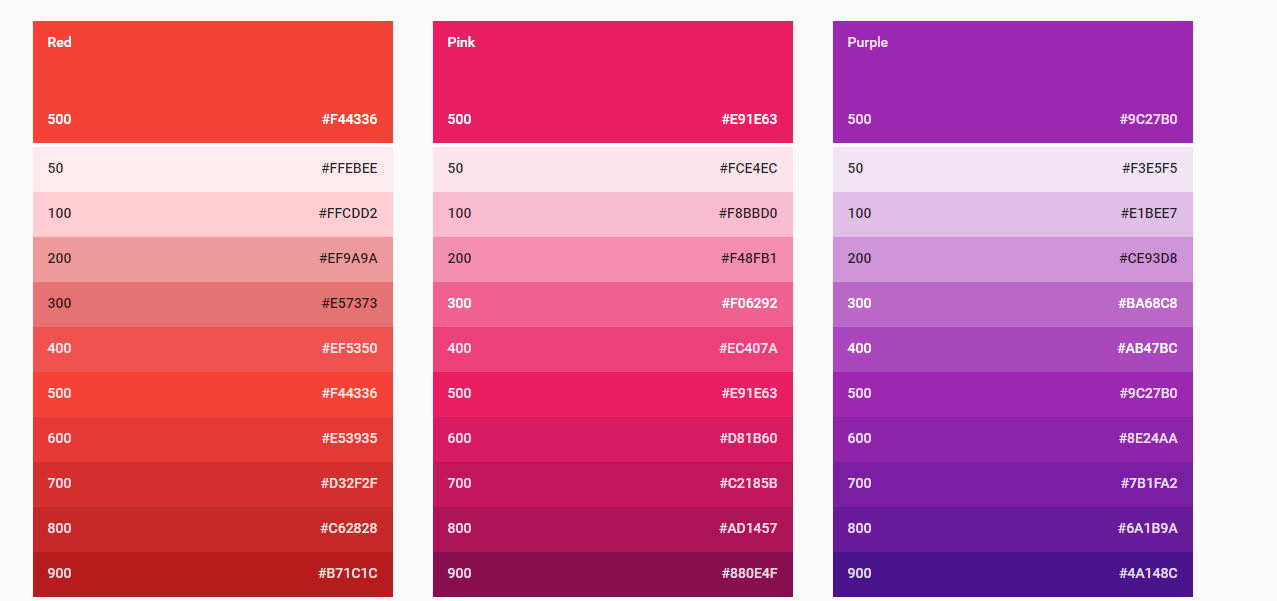 A color scheme by Google