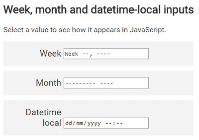 Week, month and datetime-local inputs