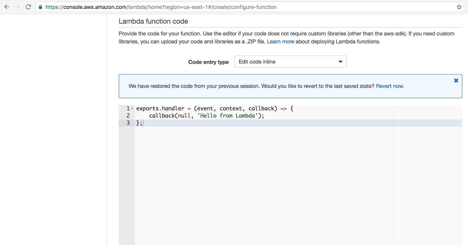 Screenshot of the online function editor