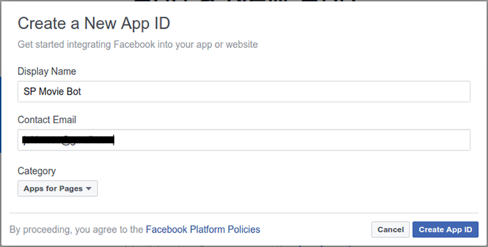 Screenshot of the 'Create a New App ID' form