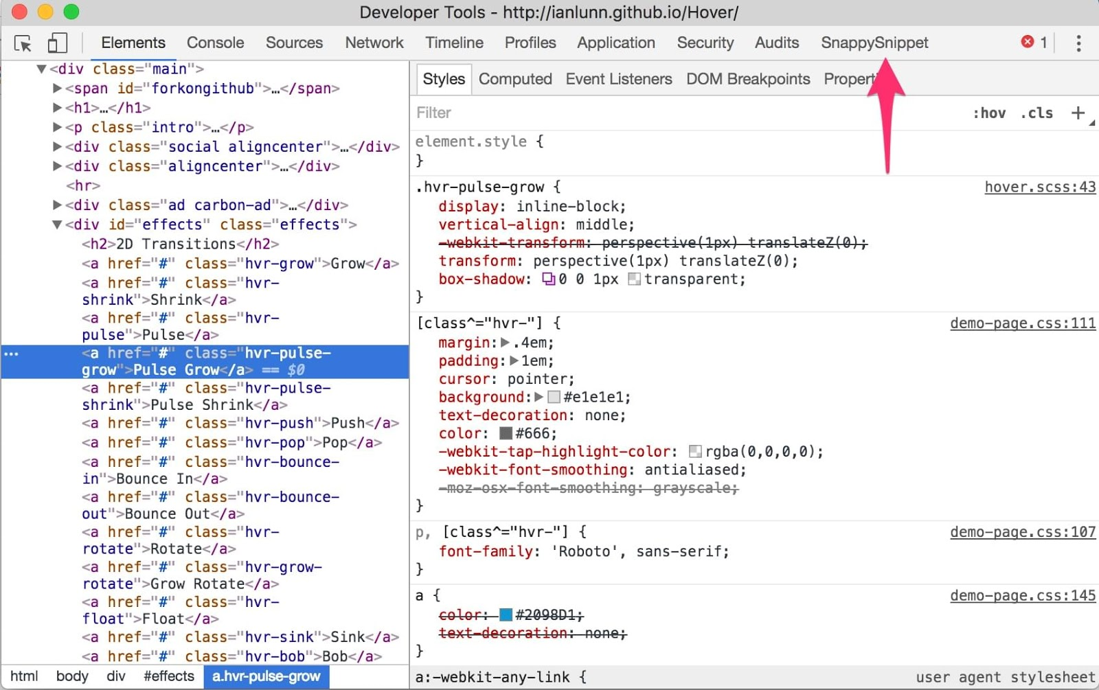 Chrome Devtools - Snappy Snippet
