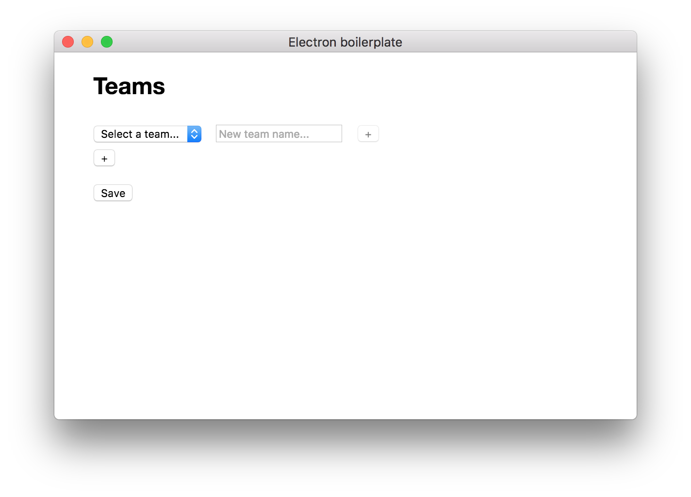 The team management screen, with options to select or add a team