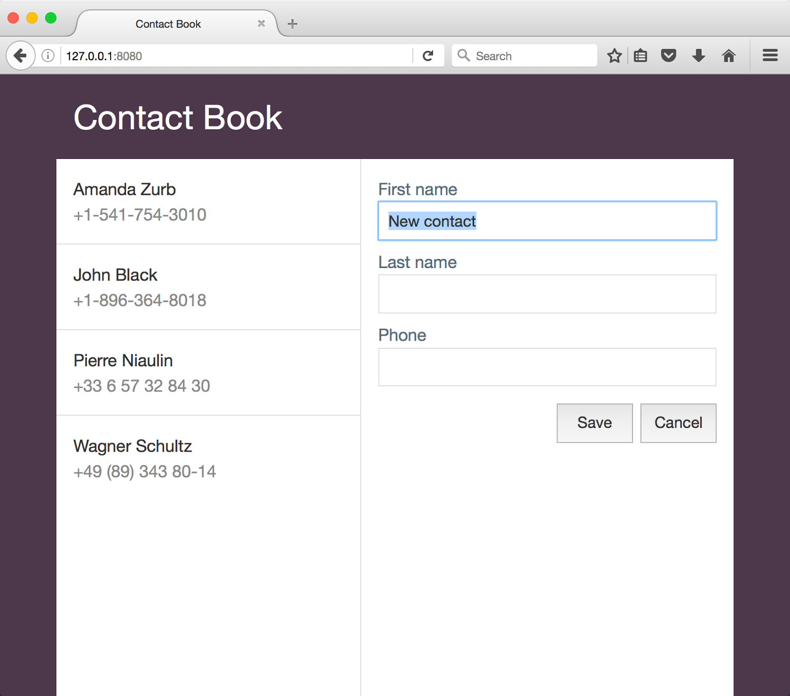contact book screenshot