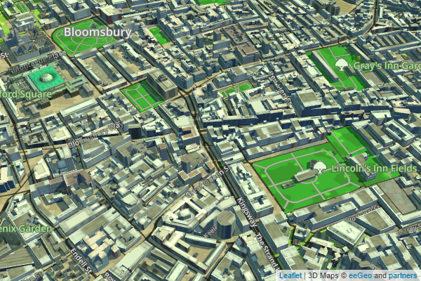 eeGeo.js 3D Map of London centered around Holborn Tube Station