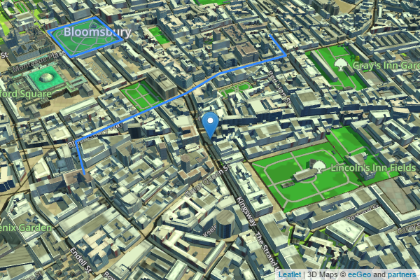 eeGeo.js 3D map showing the marker, polyline, and polygon