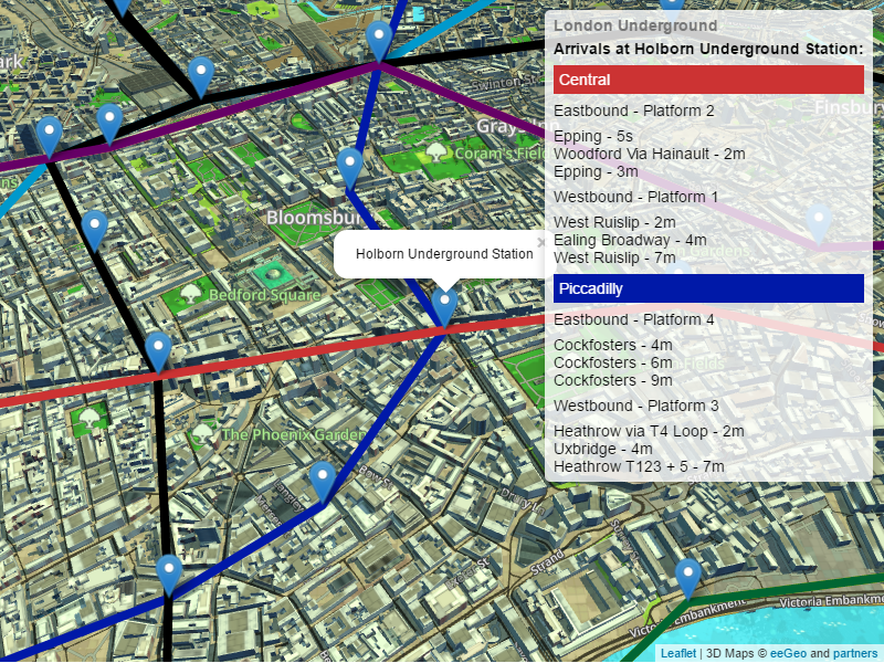3D map of London with Underground stations and arrival times displayed as an overlay
