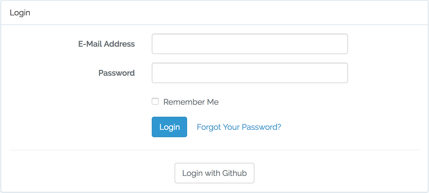 Log in form with Github link