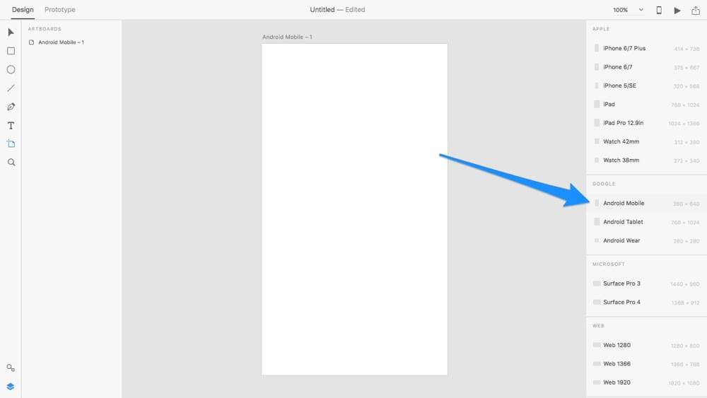 Creating an artboard in Adobe XD
