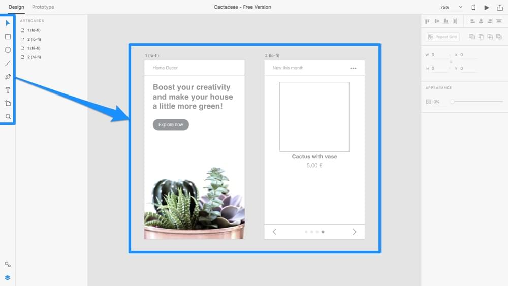 Low-fidelity prototying with Adobe XD