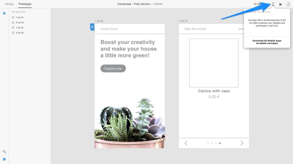 Testing prototypes with Adobe XD Device Preview