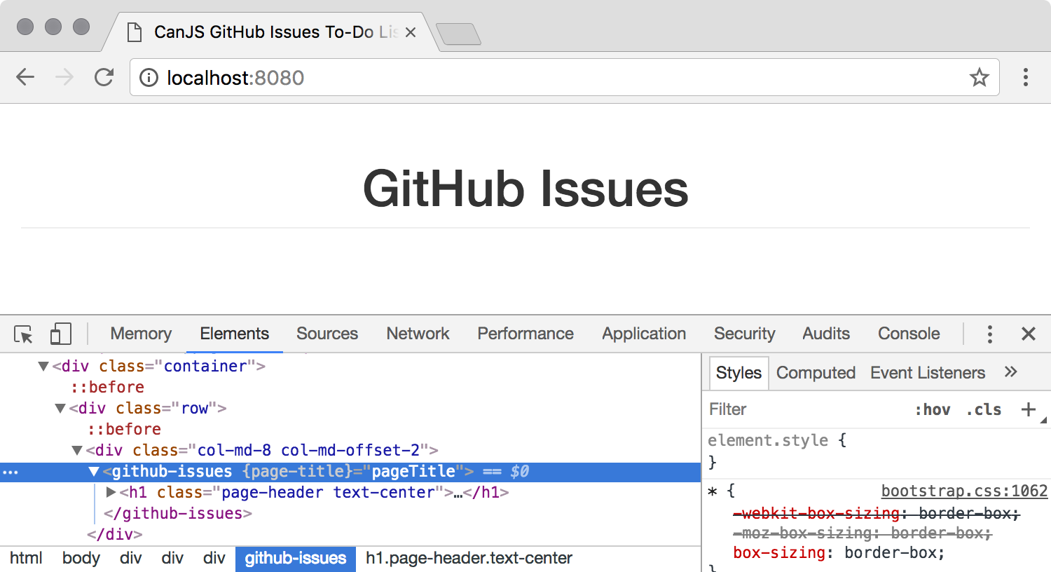 Screenshot of the DOM with the github-issues custom element