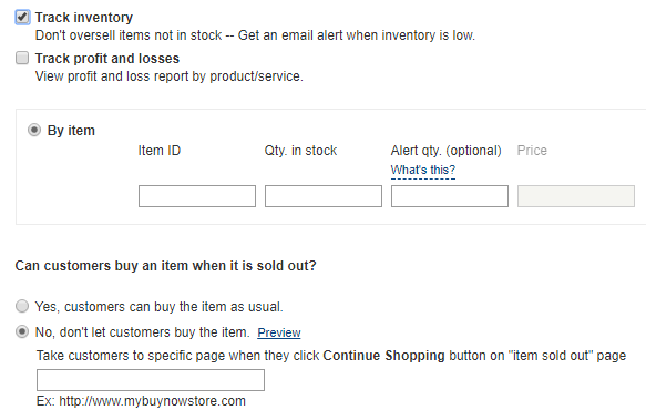PayPal Inventory