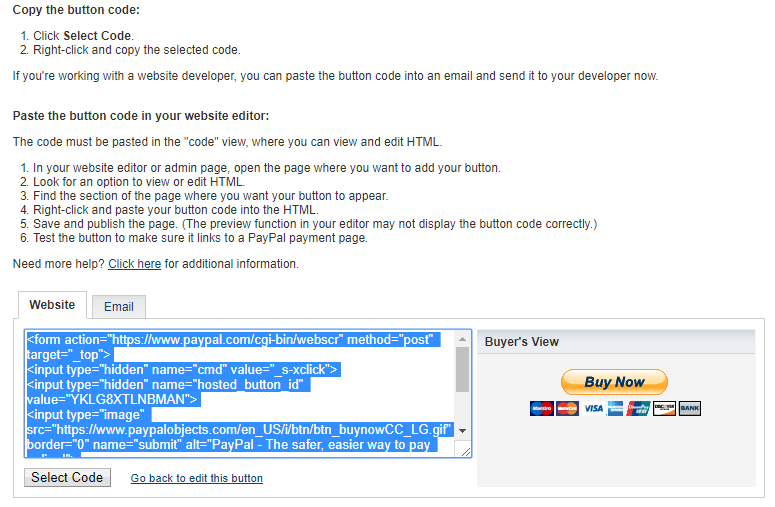 PayPal Button - Select Code