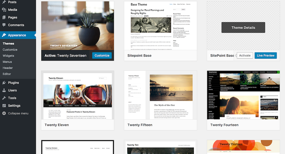 Using Polymer in WordPress: Activate Sitepoint Base Child Theme