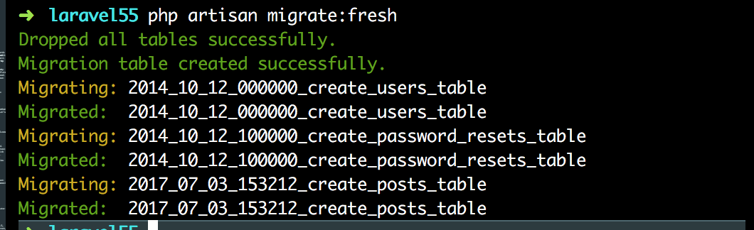 Migrate Fresh