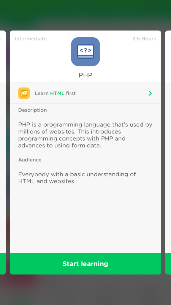 The introduction screen of the PHP course