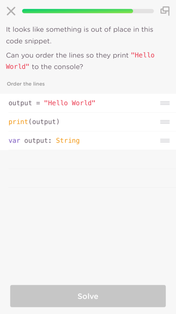 A re-ordering of Swift code